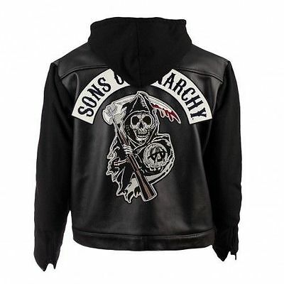 Mens SOA Sons Of Anarchy Motorbike Retro Leather Hoodie Jacket