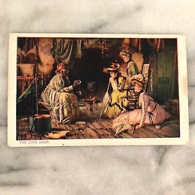 Antique 1900s Black Americana Postcard The Love Drop Root Woman with White Women