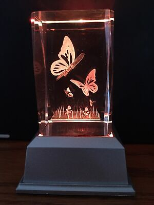 Butterflies 3D Laser Crystal With Led Colour Change Base Night Light Ljs-206