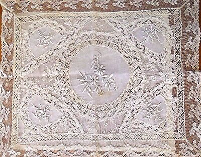 Handkerchief Holder Lace Doily Embroidered Whitework Antique Vintage