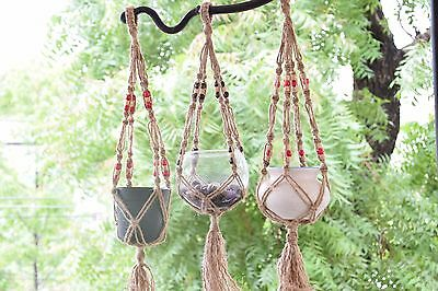 set of 3 handmade Macrame Jute plant hanger plant holder 30 inch