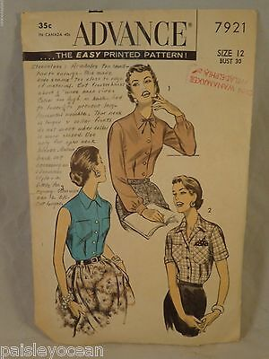 1940s Sewing Pattern Button Up Blouse  size 12 Advance 7921