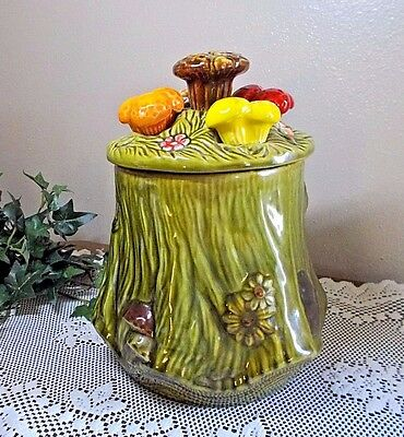 Vintage Green Stump Cookie Jar with Mushrooms and Flowers California Pottery