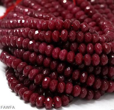 """AAA 2x4mm Natural Faceted Brazil Red Ruby Gemstone Rondelle Loose Beads 15"""""""
