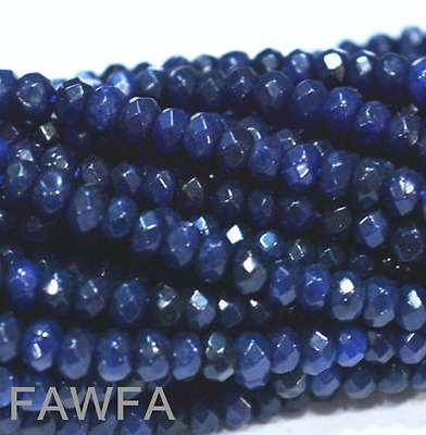 Natural 2x4mm Faceted Dark Sapphire Abacus Gems Loose Beads 15''AAA
