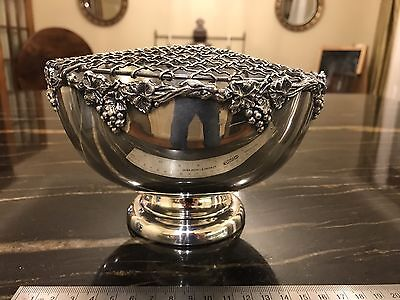 "Quality Silver Plate 7"" Rose Bowl With Two Layer Net/ Frame"