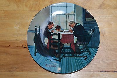 """Norman Rockwell Collector's Plate """"Family Grace"""" by Knowles with COA"""