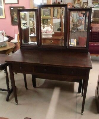Mahogany Vanity with Bat Wing Tri-Fold Beveled Mirrors and 3 Dovetailed Drawers