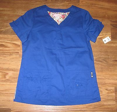 New Koi Scrub Top, Blue, By Kathy Peterson, Cotton Blend, $31 MSRP, Size S