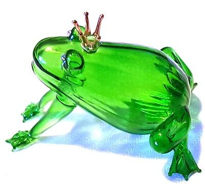 "Wonderful 3"" Glass Frog Prince Decor Figure"