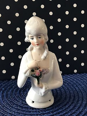 Vintage Porcelain Half doll , Made in Germany, numbered, Lady With flower,