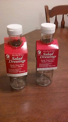2 Mix,Pour and Store SALAD DRESSING BOTTLES with recepies, New