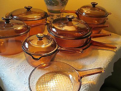 Corning Ware Glass Vision Ware 1 Liter Pot with spout - Amber Lid  2 items only