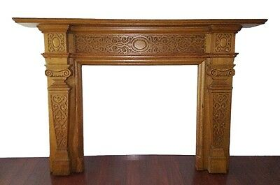 Antique Quarter Sawn Oak Fireplace Surround Mantel 1900's fire place carved