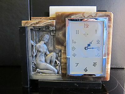 Cubist French Art Deco Clock Marble Onyx figural nude silver plated bronze