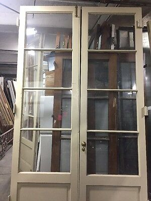 "French Doors 1930's Spanish Colonial Glass With Wood Panel 95""x54"""