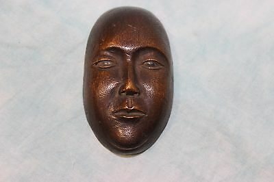 """Antique 3"""" tall X 2-3/4"""" wide Primitive hand carved wooden mask 19th Century"""