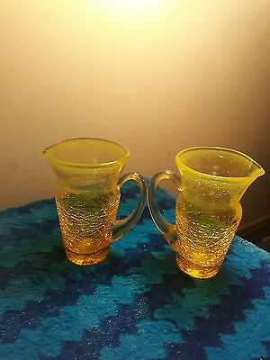 Matching Set Of Yellow Crackled Glass Miniature Pourers