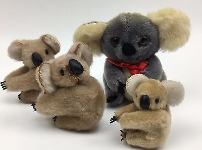 Lot 4 Vintage Koala Bear Clip On Plush Hugger 80's Gray Brown Dakin