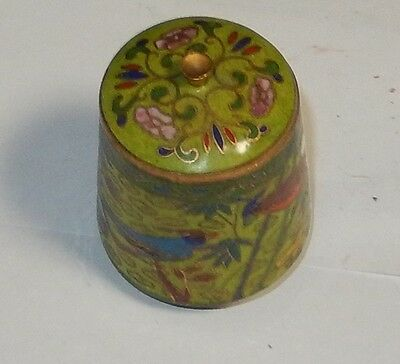 Chinese Cloisonne Enamel Green Barrel Bird Design Jar Box Signed