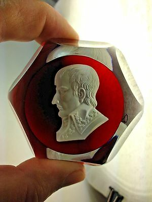 "1974 ""Napoleon""Baccarat Ruby Sulphide Cut 3 Cut Glass Paperweight"