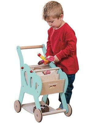 NEW Le Toy Van Honeybake Shopping Trolley with Detachable Fabric Bag - Shop Play