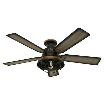 """52"""" Hunter Bronze Outdoor Damp Rated Ceiling Fan w/ LED Light! Lodge Cabin Porch"""