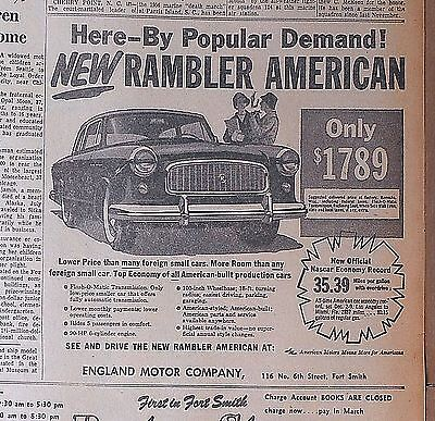 1958 newspaper ad for Rambler - American here by popular demand, features list