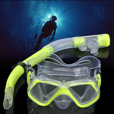 Set Scuba Snorkeling Swimming Diving Mask + Dry Snorkel Tube Silicone