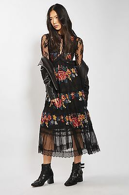 TOPSHOP *Black Lace Tier Floral Midi Dress* NEW_UK6_8_10_12_14_16