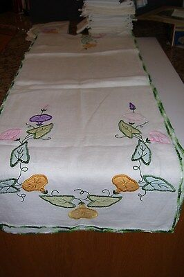 """Lovely LONG Runner w/Embroidered Morning Glories-83 x 16"""""""