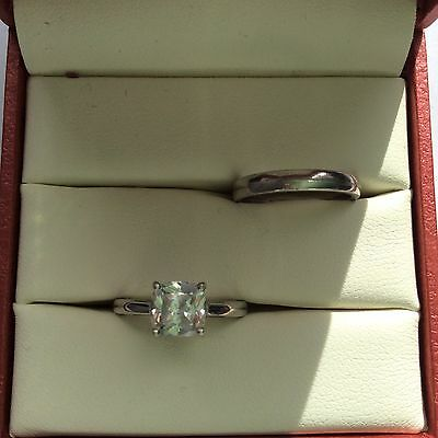Sterling Silver Cushion CZ Solitaire Ring Set 1 CTW Size 4