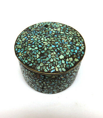 Vintage Shades of Turquoise ~ Chip Inlay Inlaid on Brass Round Trinket Box