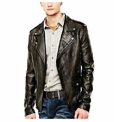 WILLIAM RAST Men's Black Leather Biker Jacket - Size L - Large