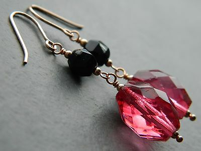 Antique Victorian Pink Cranberry Glass & French Jet & Rolled Rose Gold Earrings