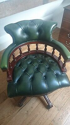 Green Leather Mahogony Captains Chair