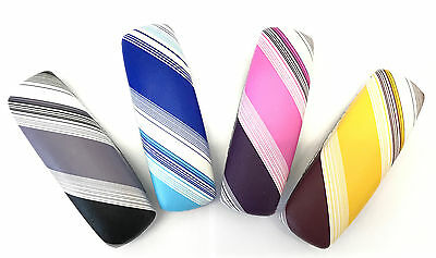 C32 Coloured Stripe Pattern Spectacles Reading Glasses Case/Faux Leather Covered