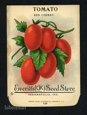 TOMATO, Red Cherry, Everitt's Antique Seed Packet, Kitchen Decor, 008 stain