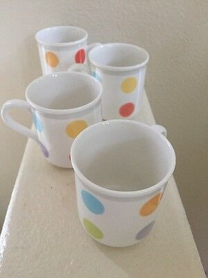 Four Villeroy & Boch Bonjour Mugs - Luxembourg Multicolor Polka Dots