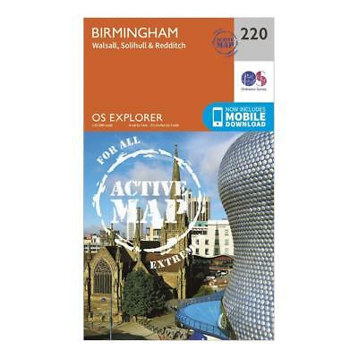 Os Explorer Active 220 Birmingham Walsall Solihull & Redditch Map