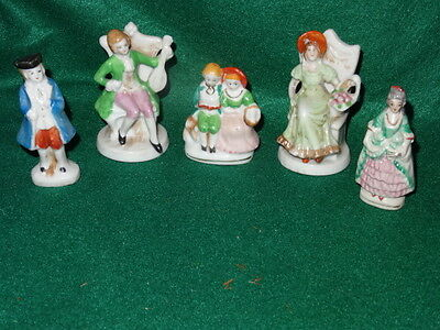 Lot of 5 VINTAGE FIGURINES~Colonial~Victorian ~ MADE IN JAPAN~ANTIQUE