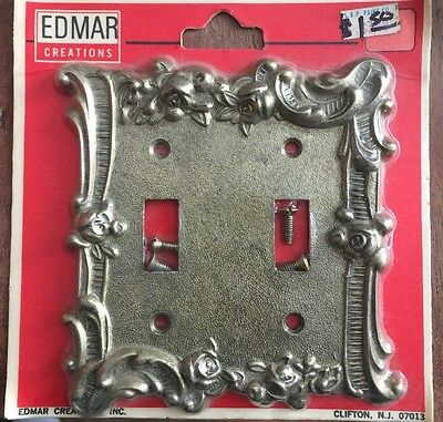 Vintage NOS Edmar Creations Double Switch Plate Brass Raised Flower Gold