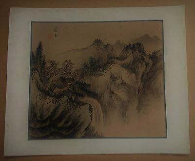 Old Painting Chinese Silk Watercolor & ink Landscape/Mountain Scene~Signed-MSee!