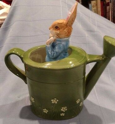Schmid Ceramic Peter Rabbit Watering Can with Music Box, Needs Repair