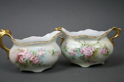Antique Cream and Sugar Bowl Pink Roses on the Vine Gold Trim Imperial China PSL