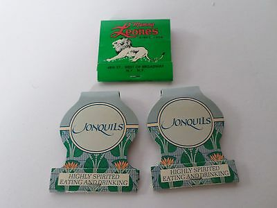 3 Vintage Mamma Leone's & Jonquils New York Restaurant Matchbooks Unstruck