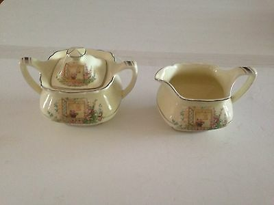 Lido W S George Canarytone Breakfast Nook China - Sugar and Creamer