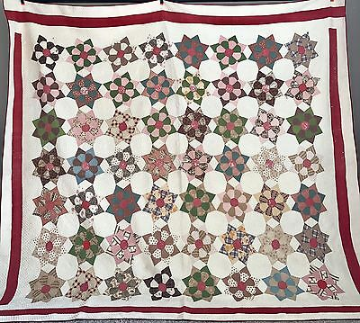 "Antique Quilt Late 1800s Dresden Plate Hand Quilting Detail 72"" x 76"" Vtg"