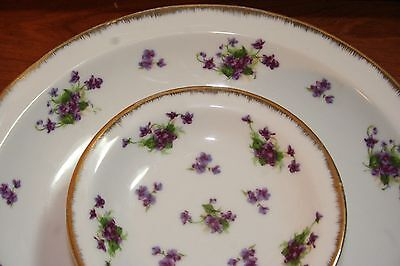 Vintage Lefton Purple Violet Tiered Plate Layer Tray Plate w/Dip Bowl Gold Edged