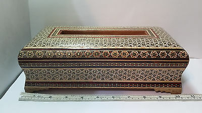 Persian Handcrafted Wooden Inlaid Khatam Marquetry Napkin Box /Holder. Beautiful